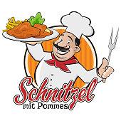 chef serving german or austrian dish schnitzel mit pommes