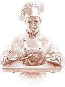 Etching illustration of happy chef serving roast chicken on wooden cutting board.
