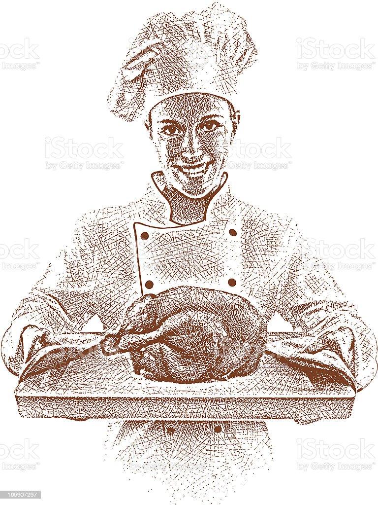 Chef Serving Roast Chicken vector art illustration