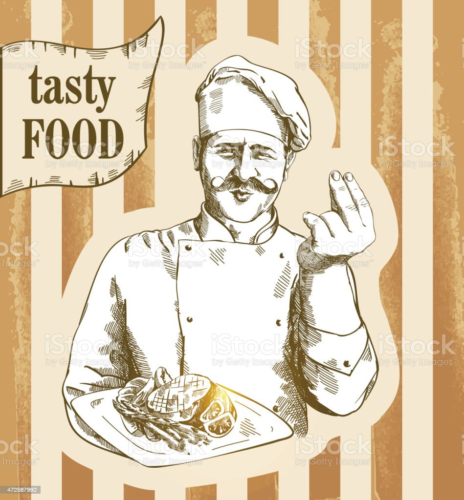 Chef serving the dish vector art illustration