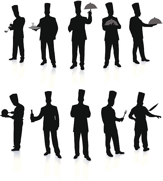 Chef Set Silhouettes http://www.bannerimage.com/istock/a_bw.gif cooking silhouettes stock illustrations