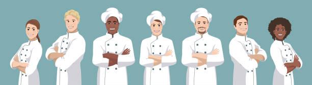 ilustrações de stock, clip art, desenhos animados e ícones de chef set - cooker happy