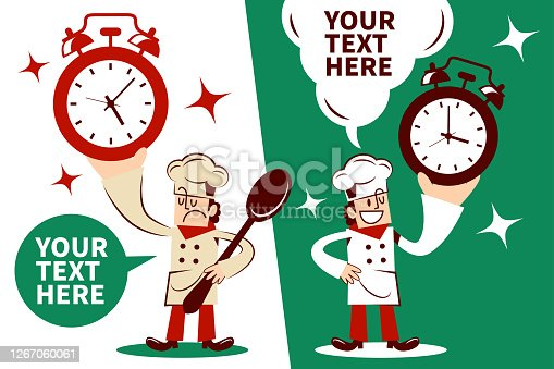 istock Chef showing a alarm clock with two postures 1267060061
