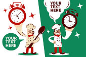 Chef Characters Vector Art Illustration Full Length. Chef showing a alarm clock with two postures.