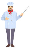 Chef showing thumb up and holding a pointer. Full length portrait of Chef in a flat style. Vector illustration.