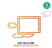 Chef skills vector icon illustration for logo, emblem or symbol use. Part of continuous one line minimalistic drawing series. Design elements with editable gradient stroke.