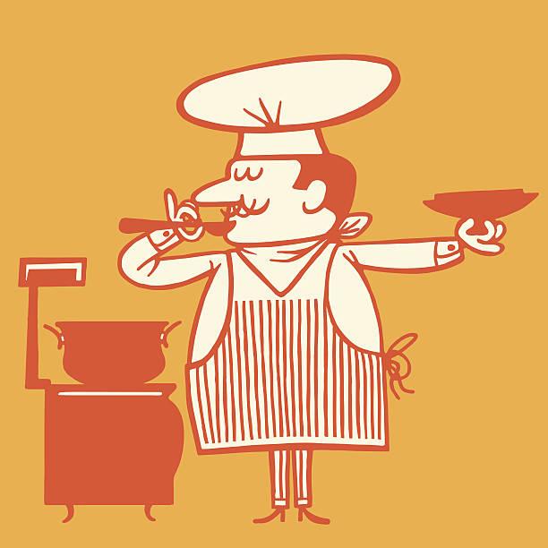 chefkochs-suppe - retroküchen stock-grafiken, -clipart, -cartoons und -symbole