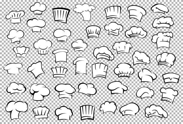 illustrations, cliparts, dessins animés et icônes de toques de chef et baker ensemble de chapeaux - boulanger