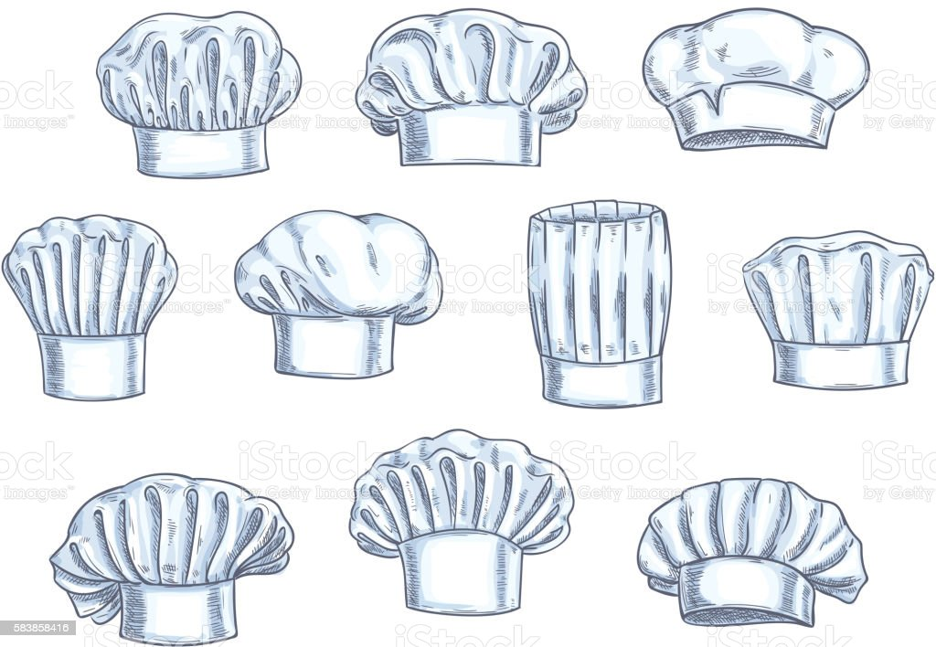 Chef toques, caps and hats icons vector art illustration