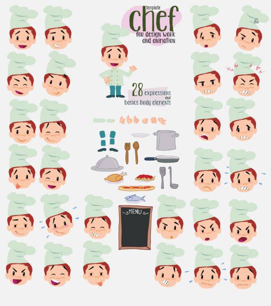 bildbanksillustrationer, clip art samt tecknat material och ikoner med kocken. tjugoåtta uttryck och grunderna i kroppen element, mall för design och animation. vektorillustration isolerade och rolig tecknad karaktär. - graphs animation