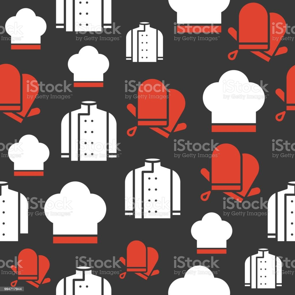 b5bd198b0b6 Chef uniform with hat and gloves seamless pattern for wallpaper or wrapping  paper - Illustration .