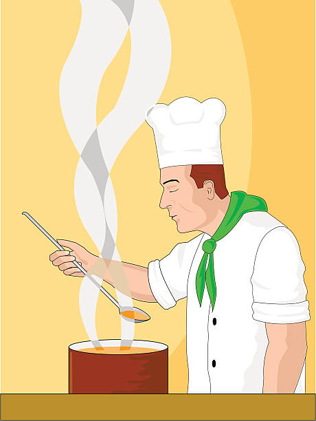 ilustraciones, imágenes clip art, dibujos animados e iconos de stock de el chef - busy restaurant kitchen