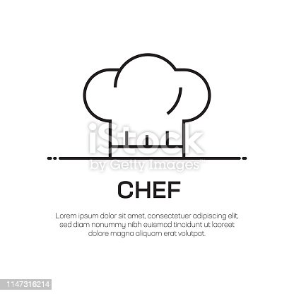 Chef Vector Line Icon - Simple Thin Line Icon, Premium Quality Design Element