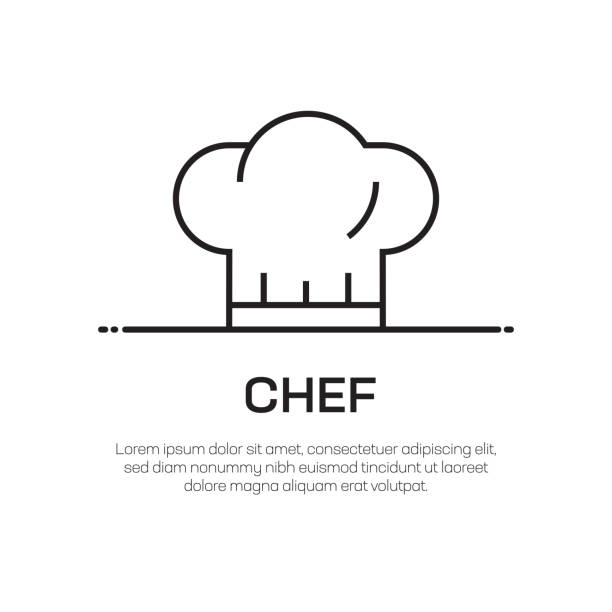 Chef Vector Line Icon - Simple Thin Line Icon, Premium Quality Design Element Chef Vector Line Icon - Simple Thin Line Icon, Premium Quality Design Element chef's hat stock illustrations