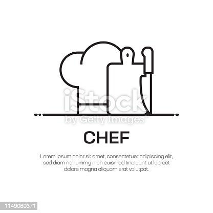 istock Chef Vector Line Icon - Simple Thin Line Icon, Premium Quality Design Element 1149080371