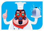 vector illustration of chef wearing gas mask and giving thumbs up