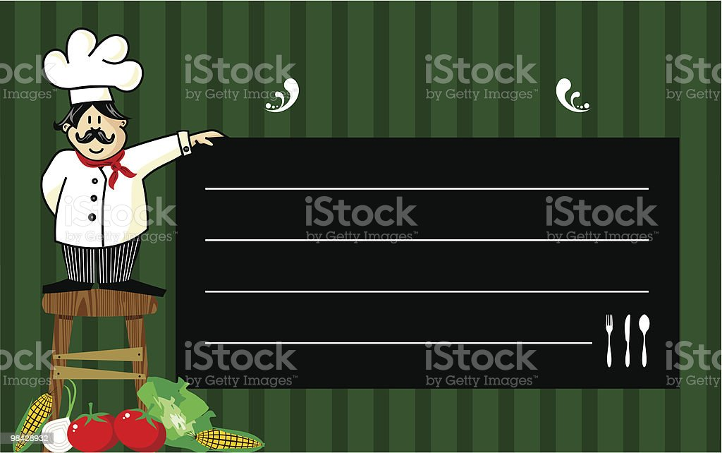 Chef with a blackboard for his recommendations royalty-free chef with a blackboard for his recommendations stock vector art & more images of backgrounds