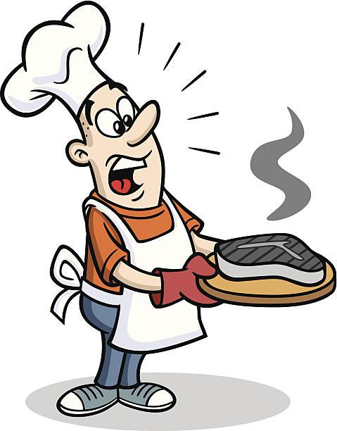 ilustrações de stock, clip art, desenhos animados e ícones de chef bbq com queimado de carne de vaca - fail cooking