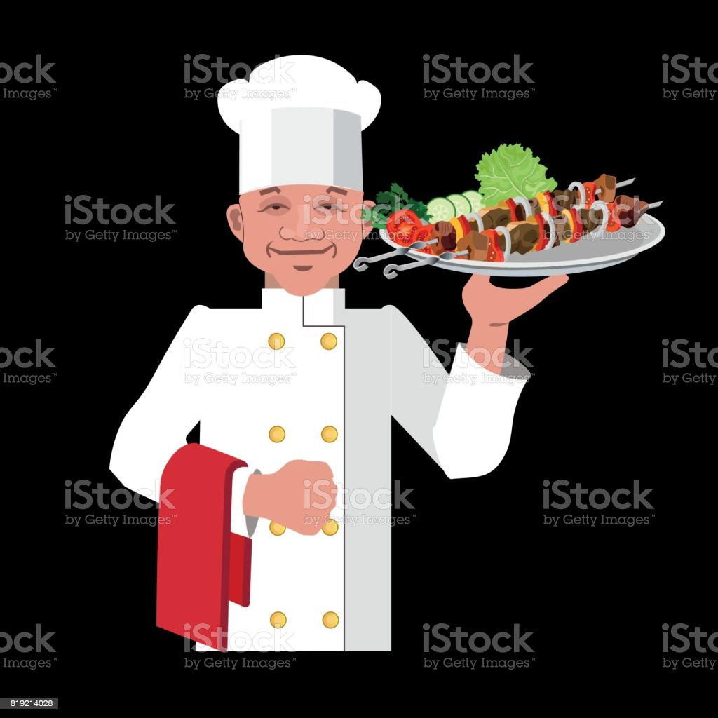Chef with a shish kebab vector art illustration
