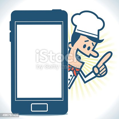 istock Chef with a smartphone 496797439