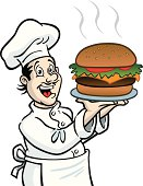 Great illustration of a Chef with a giant hamburger. Perfect for use in a restaurant menu. EPS and JPEG files included. Be sure to view my other illustrations, thanks!