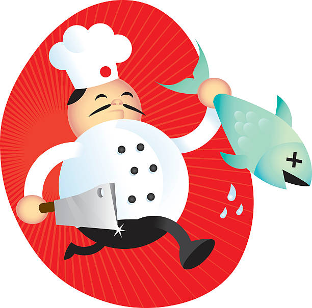 chef with fish - dead animal stock illustrations