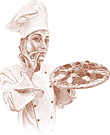 Chef with Fresh Pizza