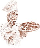 Etching illustration of happy chef with fresh baked gourmet pizza.