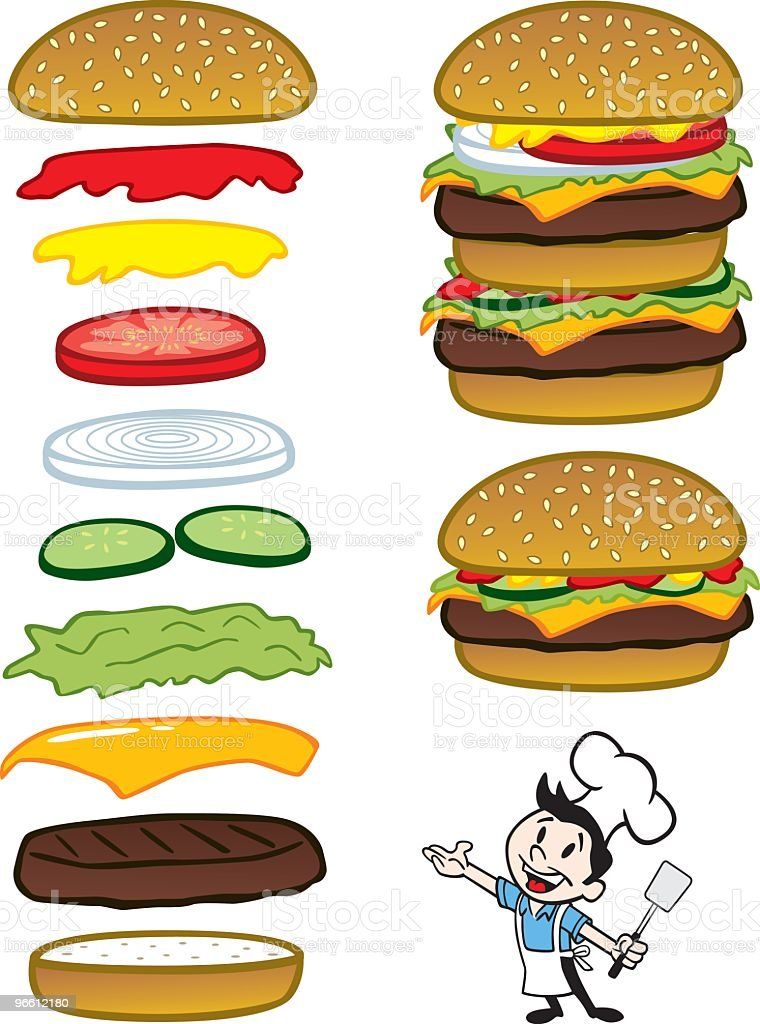 Chef com hambúrgueres - Royalty-free Adulto arte vetorial