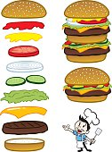 Great illustration of burgers with chef. Perfect for a restaurant menu illustration. EPS and JPEG files included. Be sure to view my other food illustrations, thanks!