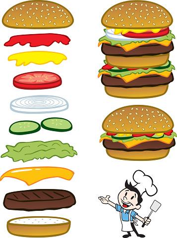 Chef With Hamburgers Stockvectorkunst en meer beelden van Afhaal eten