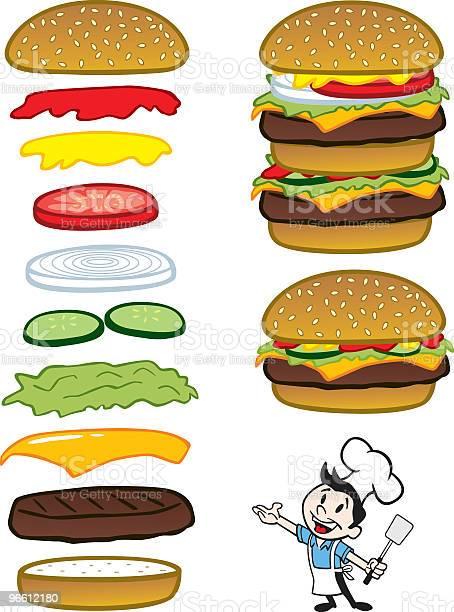 Шефповар С Гамбургерами — стоковая векторная графика и другие изображения на тему Бургер