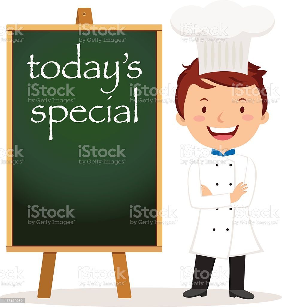 Chef with menu board vector art illustration