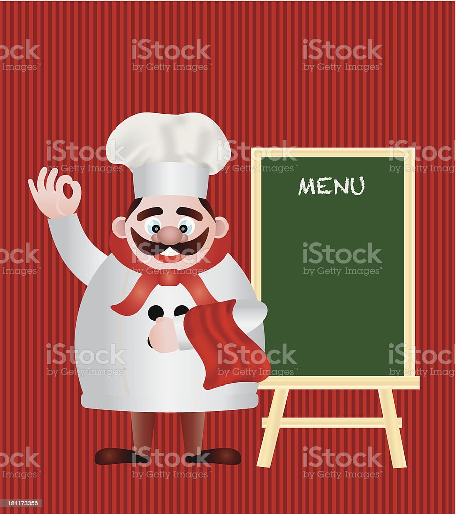 Chef with Menu Sign Vector Illustration royalty-free stock vector art