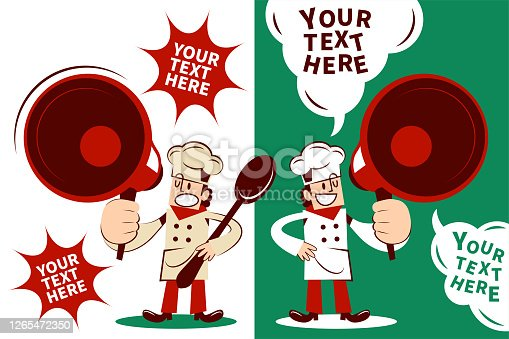 istock Chef with one hand on hip is carrying a big spoon and talking with a megaphone 1265472350