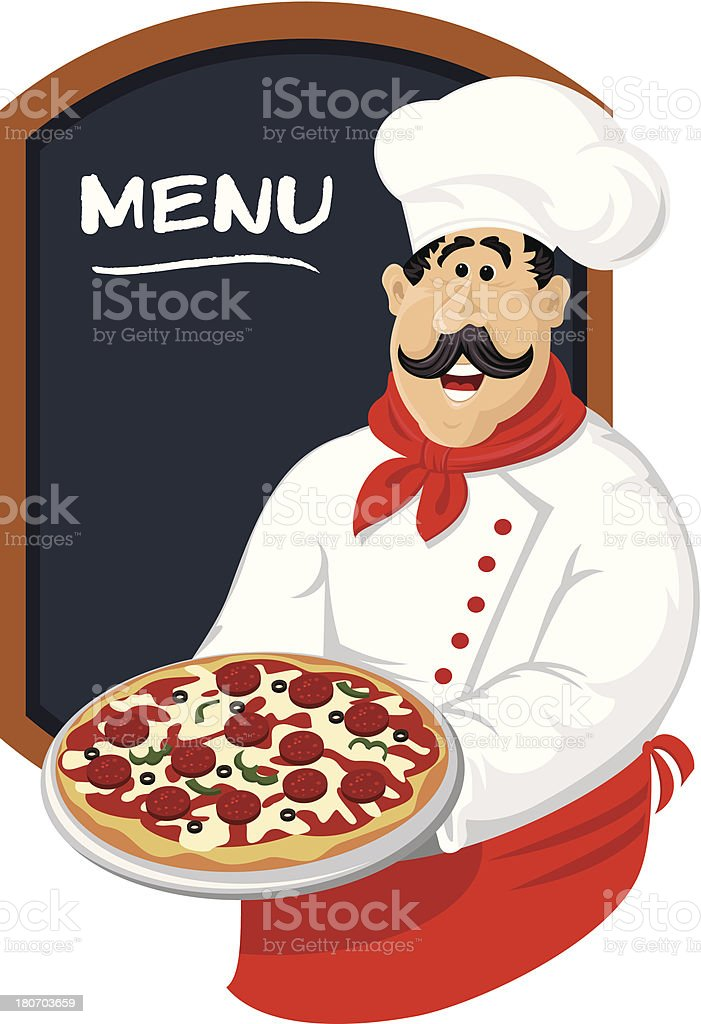 Chef with pizza and menu board royalty-free chef with pizza and menu board stock vector art & more images of advertisement