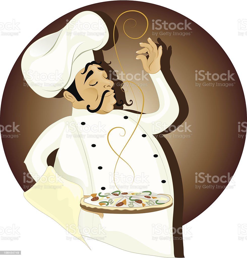 Chef with pizza royalty-free chef with pizza stock vector art & more images of adult