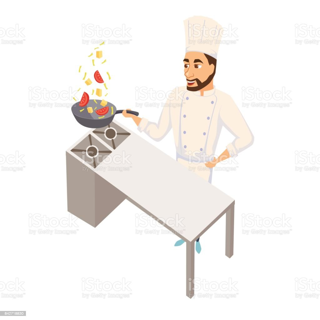 Chef with wok pan vector art illustration