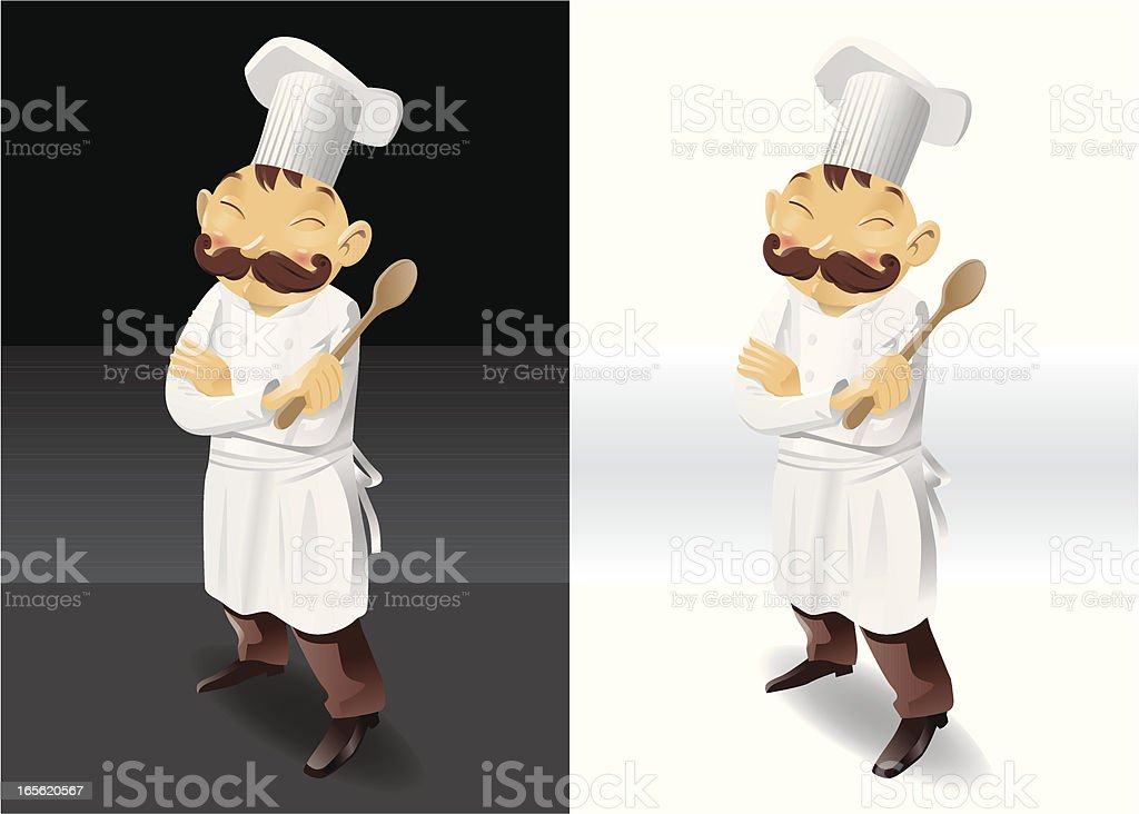 Chef with wooden spoon full picture royalty-free stock vector art