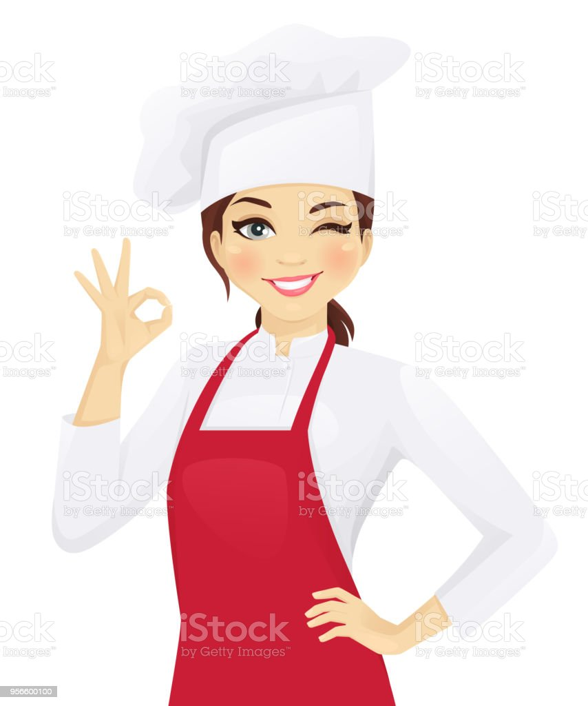 Chef woman gesturing ok Confident chef woman gesturing ok sign vector illustration Adult stock vector