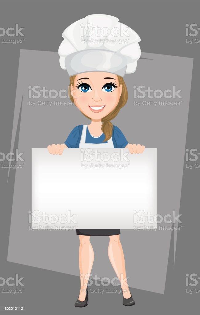 Chef Femme Tenant Une Bannière Vierge Grosse Cuisinier De Personnage