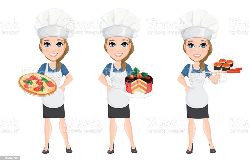 Jeu De Femme Chef Personnage De Dessin Animé Mignon Cuisiner Avec La