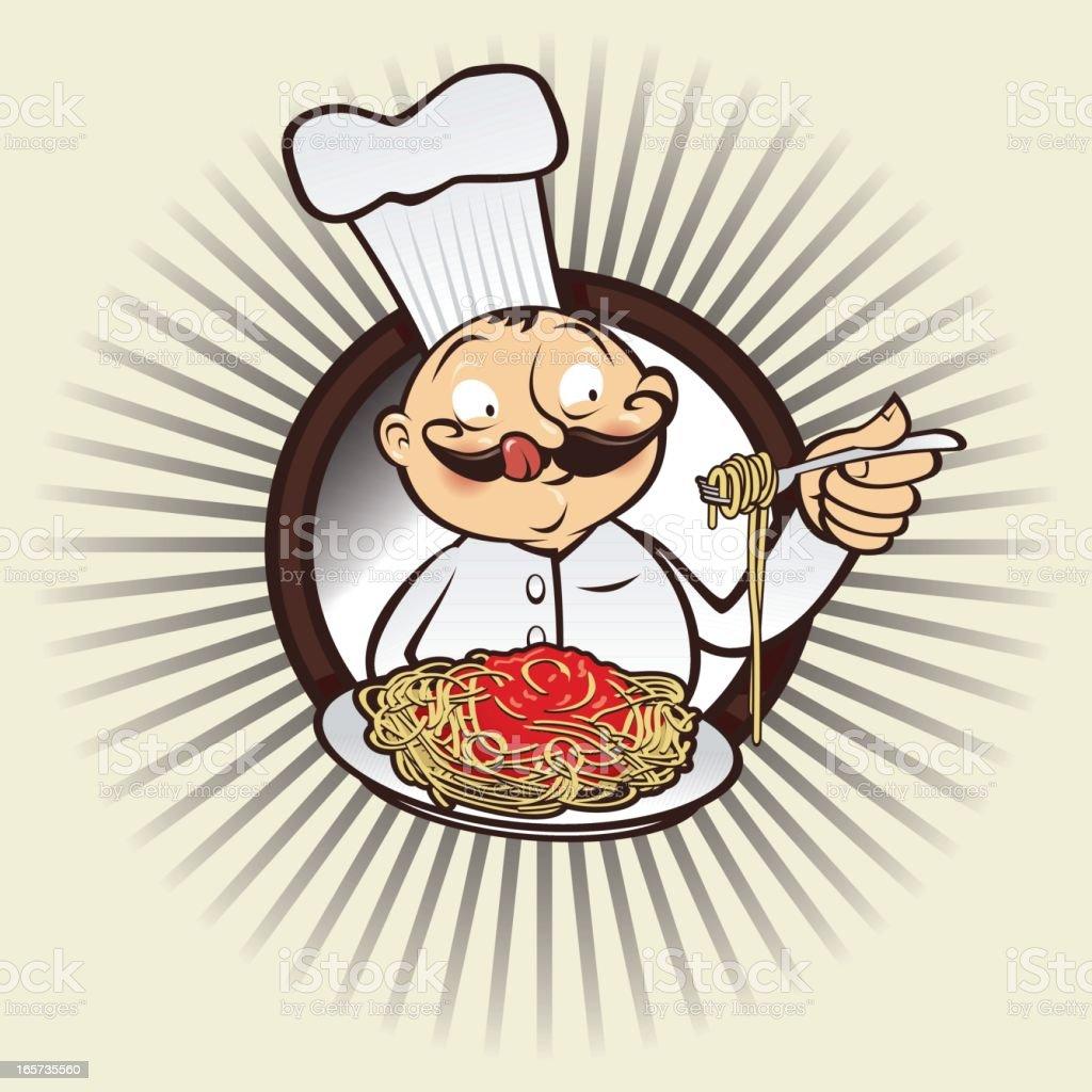 Chef yumm spaghetti royalty-free stock vector art