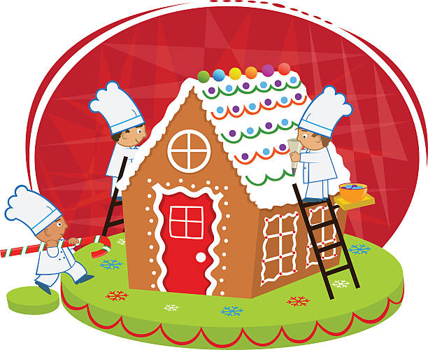 Chefs and Gingerbread house vector art illustration
