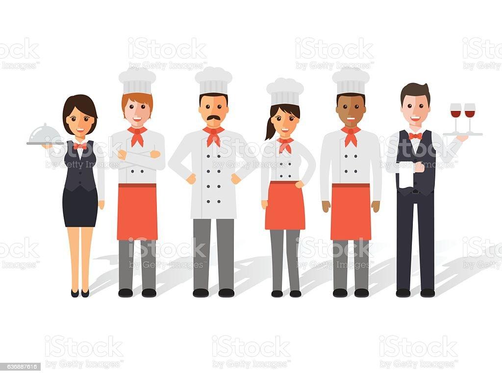 Chefs and restaurant team ベクターアートイラスト