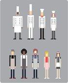 Vector Pixel Art - Chefs and Wait Staff.