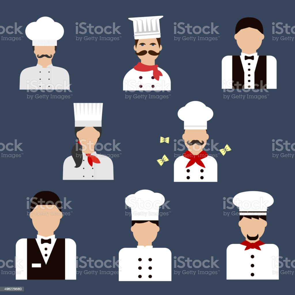 Chefs, bakers and waiters flat avatar icons vector art illustration
