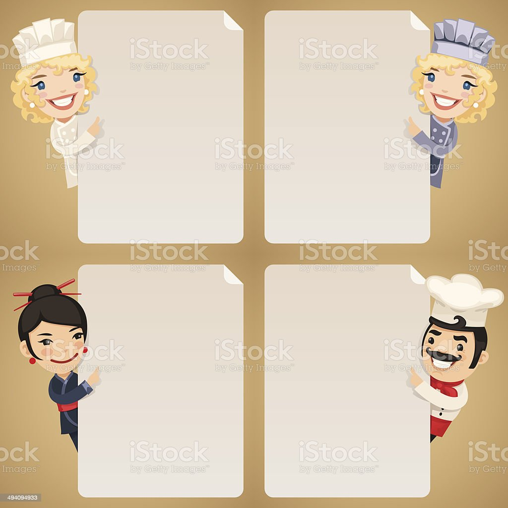 Chefs Cartoon Characters Looking at Blank Poster Set royalty-free chefs cartoon characters looking at blank poster set stock vector art & more images of adult