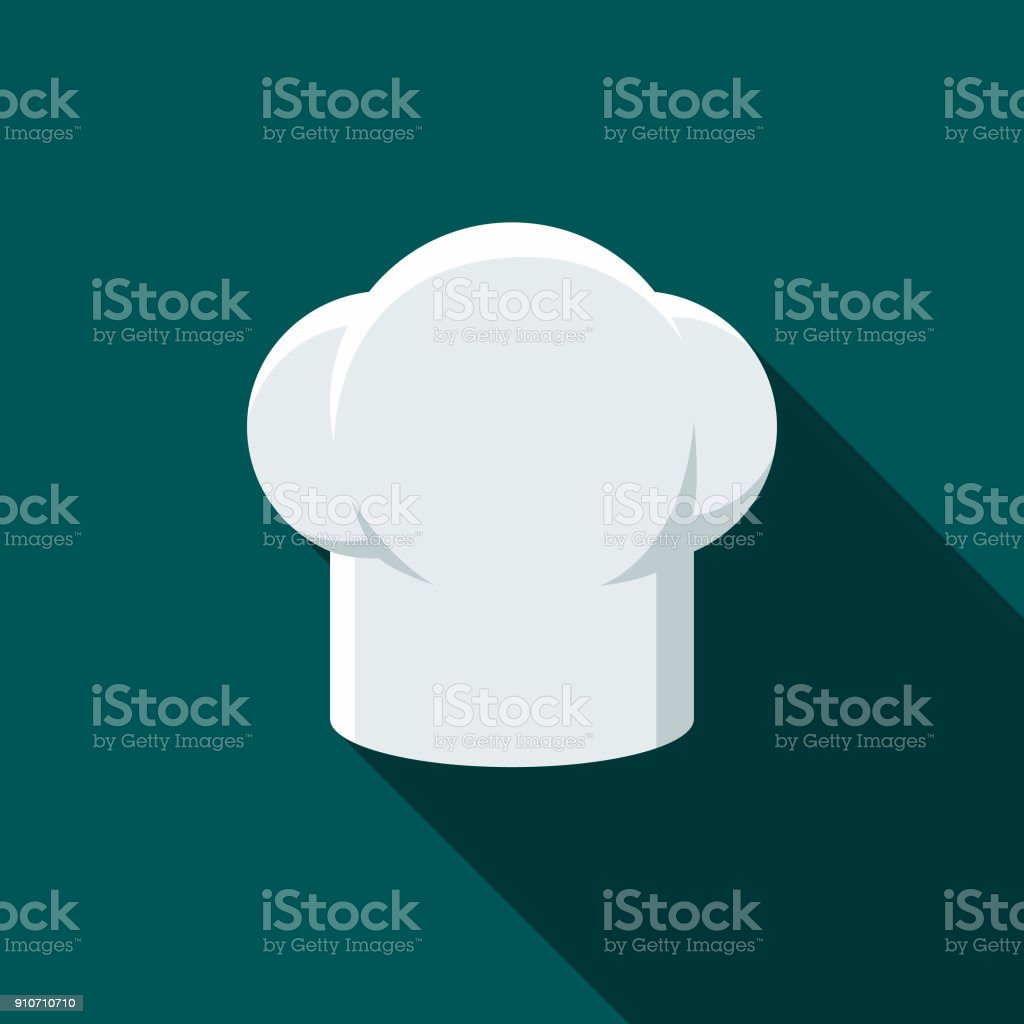 Chef's Hat Flat Design BBQ Icon with Side Shadow vector art illustration