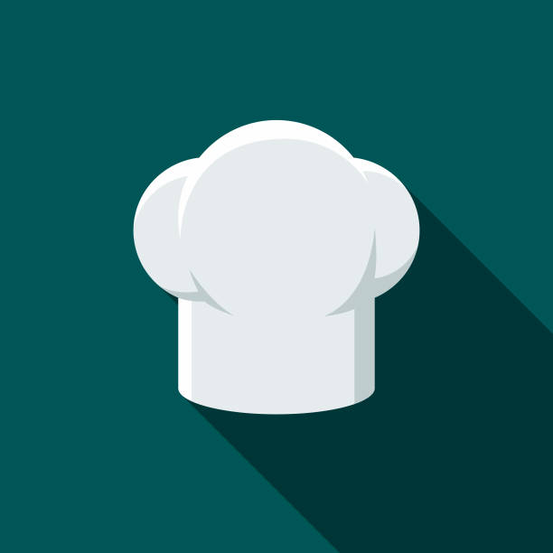 Chef's Hat Flat Design BBQ Icon with Side Shadow A flat design styled barbecue icon with a long side shadow. Color swatches are global so it's easy to edit and change the colors. chef's hat stock illustrations